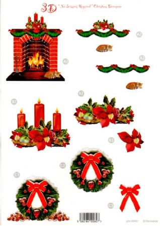 Christmas Fireplace, Candles & Wreath Die Cut 3d Decoupage Sheet From Craft UK Ltd